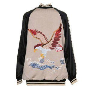 LANEUS Eagle Embroidery Bomber Jacket, Sz 38